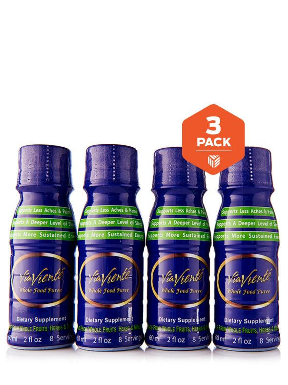 ViaViente Whole Food Puree 3 Pack (12-2oz Bottles, 4 Bottles per Pack)